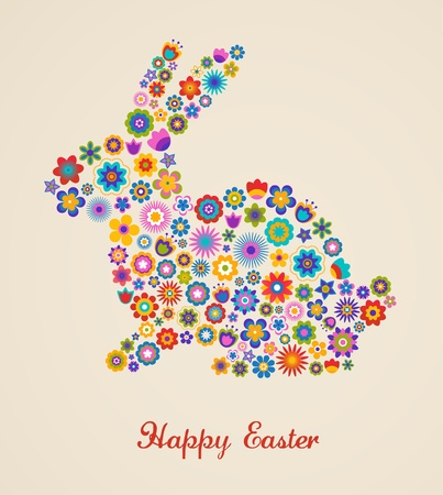 bunny rabbit: Easter greeting card with bunny and flowered pattern Illustration