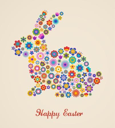 Tarjeta de felicitaci�n de Pascua con el conejito y el patr�n de flores