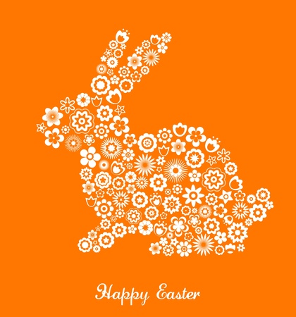 colored eggs: Easter greeting card with bunny and flowered pattern Illustration