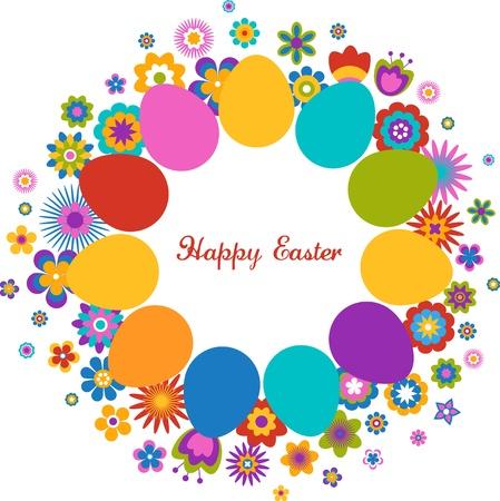 Tarjeta de felicitaci�n de Pascua con el huevo y el patr�n de flores