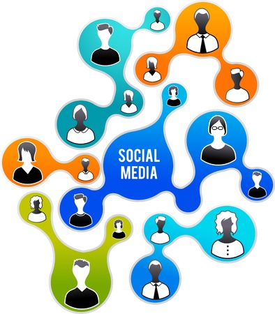 social work: Social Media and network illustration