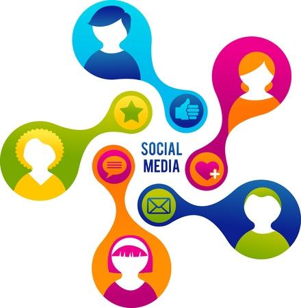 m�dia: Social Media e ilustra��o rede Ilustra��o