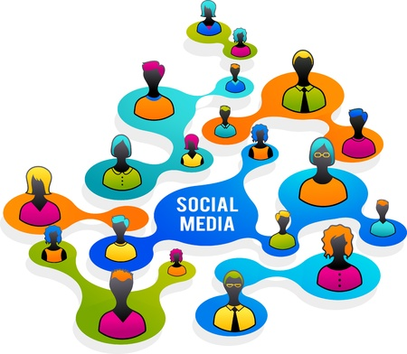 social work: Social Media and network illustration