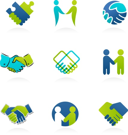 collection of handshake icons and elements Stock Vector - 12874838