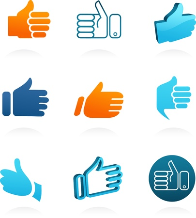 thump up: set of vector thump up and like icons Illustration