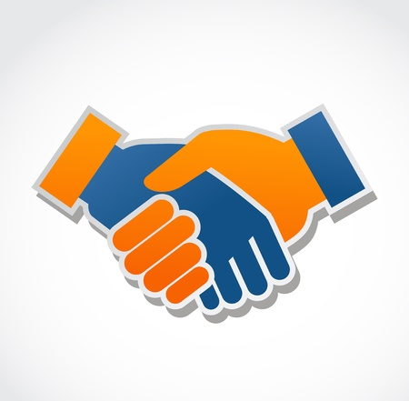 business partnership: handshake abstract vector illustration
