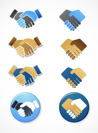 associate: collection of handshake icons and elements Illustration