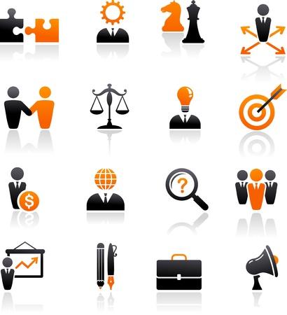 management concept: conjunto de iconos de negocios y estrategia