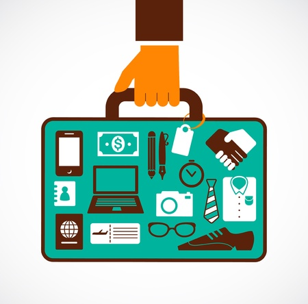 Business travel illustration - man with suitcase Vector
