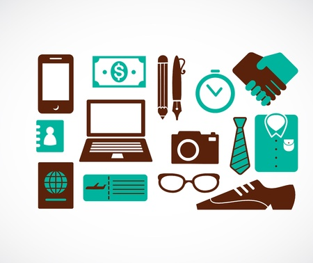 duty free: collection of business travel icons Illustration