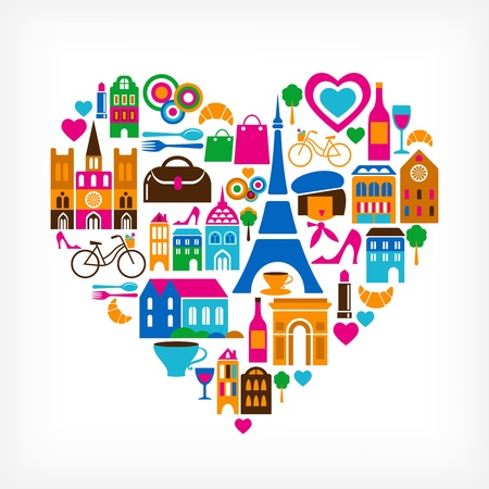 symbol tourism: Pars love - vector illustration with set of icons