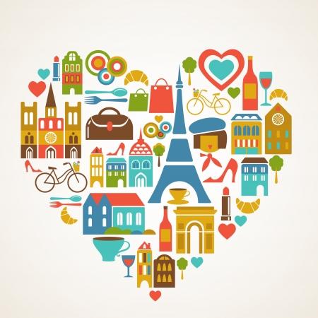 bandera francia: Pars amor - ilustraci�n vectorial con conjunto de iconos