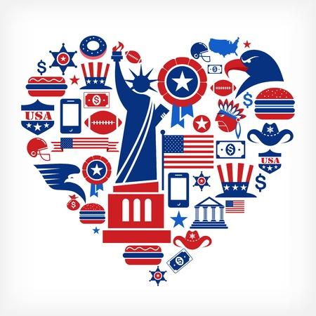 ny: America love - heart shape with many vector icons