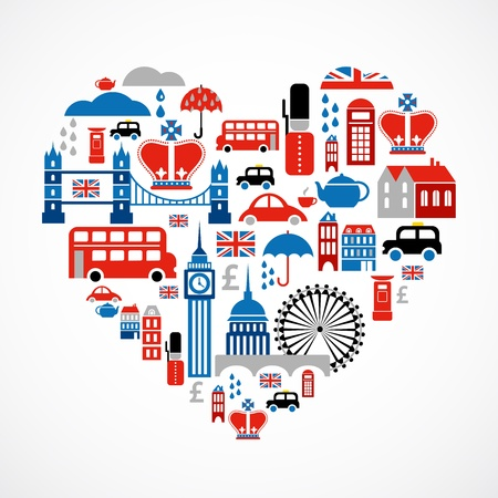 big ben tower: London love - heart with many vector icons