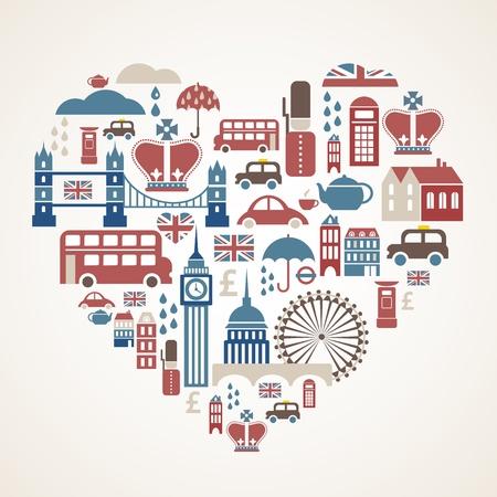 londres autobus: Amor Londres - coraz�n con muchos iconos vectoriales