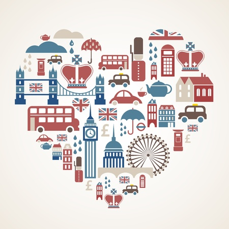 british culture: London love - heart with many vector icons