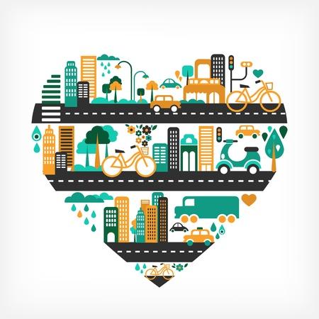 vespa piaggio: Citt� amore - forma di cuore con molte icone Vettoriali