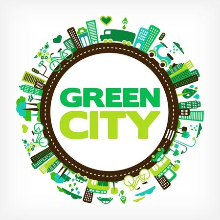 icono ecologico: c�rculo de ciudad verde - medio ambiente y la ecolog�a
