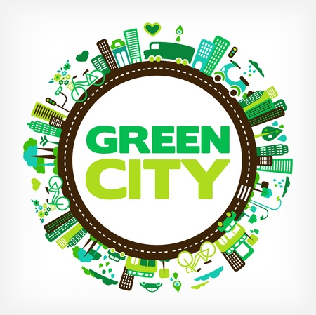 eco icons: circle with green city - environment and ecology Illustration