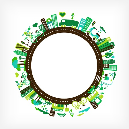 greenhouse and ecology: circle with green city - environment and ecology Illustration