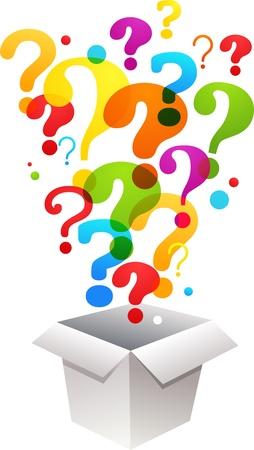 signo de interrogacion: caja con los iconos de signo de interrogación