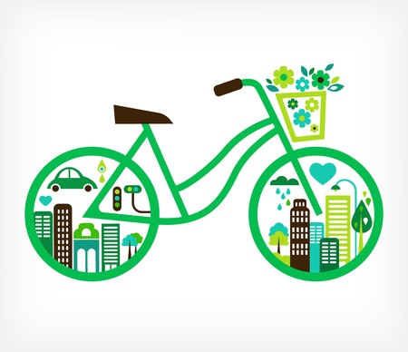 save icon: bicycle with green city - vector
