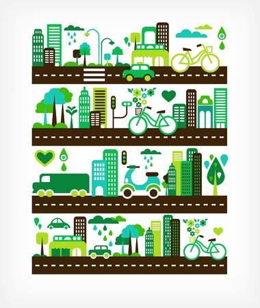 eco car: green city - environment and ecology
