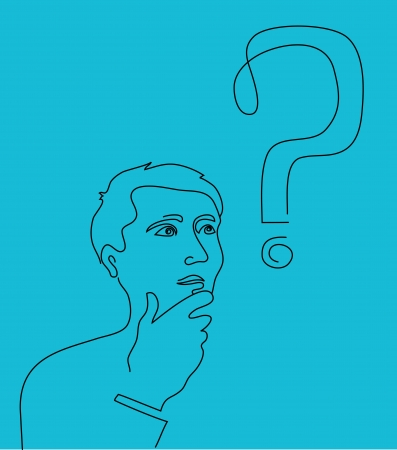 guess: Thinking man with a question mark Illustration
