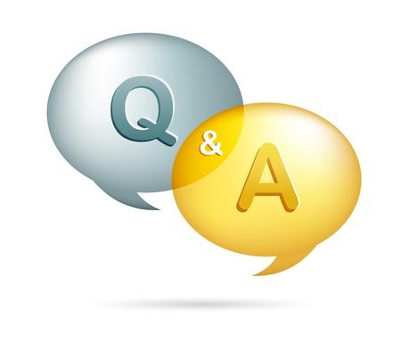 signo de interrogacion: globos de texto con preguntas y respuestas