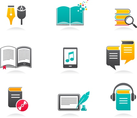 e book reader: collection of E-book, audiobook and literature icons - 1