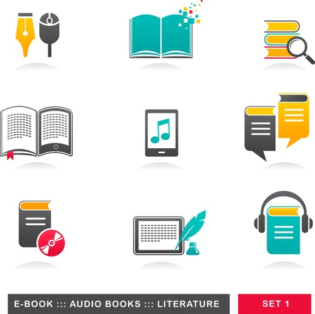 book reader: collection of E-book, audiobook and literature icons - 1