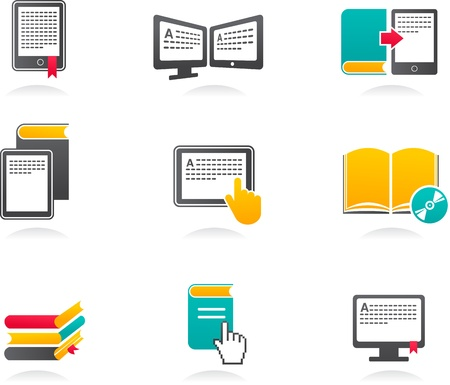 e book reader: collection of E-book, audiobook and literature icons