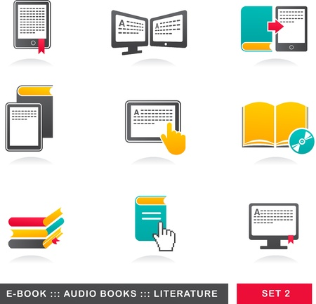 e book reader: collection of E-book, audiobook and literature icons - 2