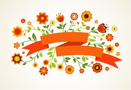 Vector greeting card with flowers and ribbon Vector