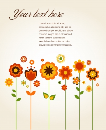 Vector greeting card with cute flowers Vector