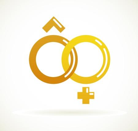 male female symbol: Wedding icon  - golden rings