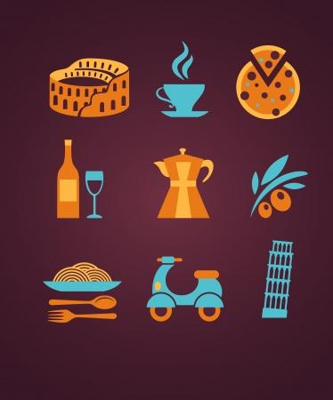 fork glasses: Italia set di icone vettoriali