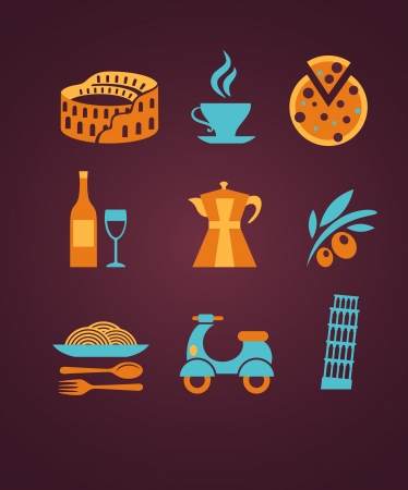 pisa tower: set of Italy vector icons