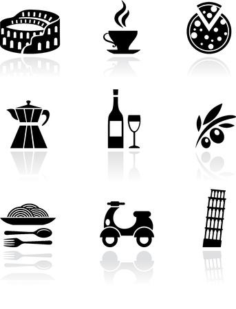 Italia icone vettoriali - nero