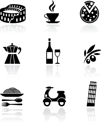 pisa tower: Italy vector icons - black