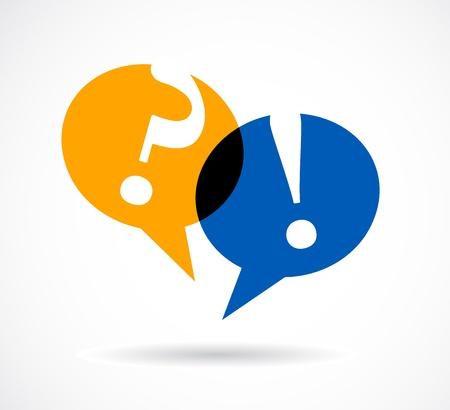 punto di domanda: domanda e risposta con segni di bolle di discorso