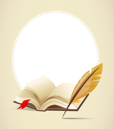 quills: Background with old book and feather