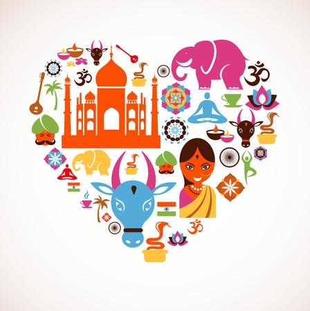 hinduismo: Coração com ícones Índia Ilustração