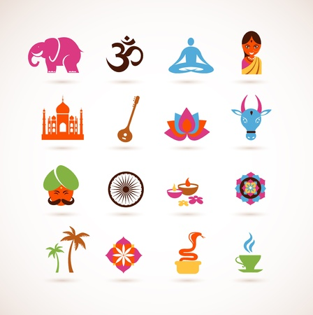 hinduism: collection of  India icons
