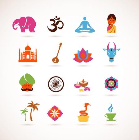 indian yoga: collezione di icone di India