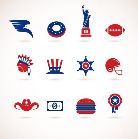 new york street: Etats-Unis - collection d'ic�nes Illustration