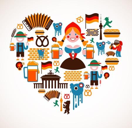 Kształt serca z ikonami Niemczech Ilustracje wektorowe