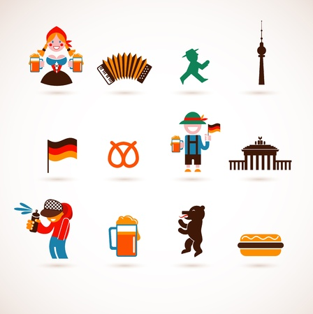 car garden: collection of Germany icons Illustration