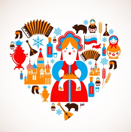muñecas rusas: Rusia amor - corazón con los iconos Vectores