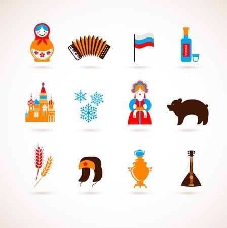 acorde�n: Rusia amor - coraz�n con los iconos Vectores